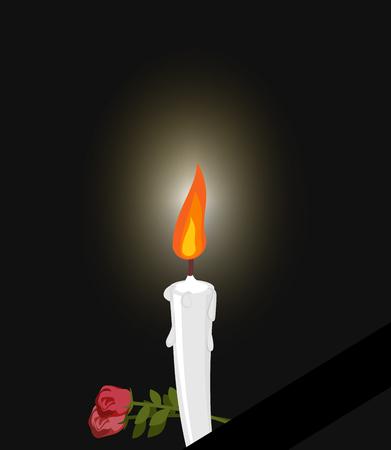 santa cena: Luto. Luto figura vela blanca y flores. La oscuridad y el fuego velas