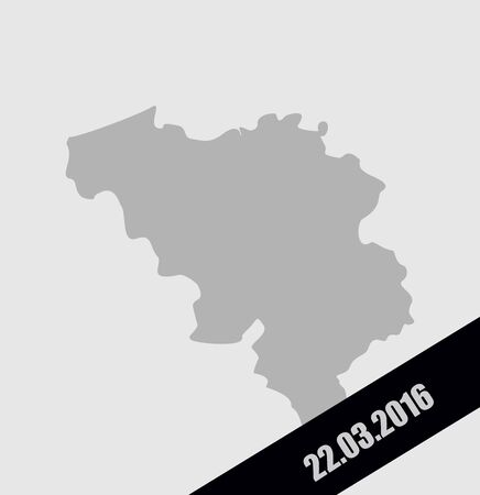 terrorist attack: Mourning Ribbon on a map of Belgium. Terrorist attack in Brussels, 22 March, in the year 2016. Grief for the dead, in Brussels. explosion in Belgium 22.03.2016 Illustration