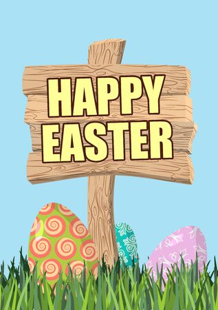 wooden plaque: Happy Easter. Green grass. Colorful Easter eggs. Traditional treats for Easter. Wooden plaque. Wooden pointer. Colored eggs