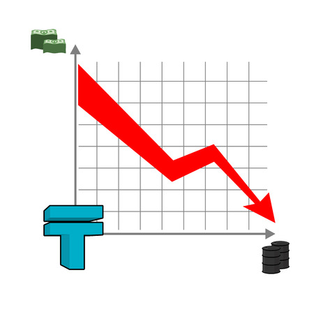 slowdown: Kazakh tenge money falls. Fall of rate of tenge. Red down arrow. Reducing  cost of oil. Graph of fall of national currency in Kazakhstan. Barrels of oil. Schedule fall for business presentations