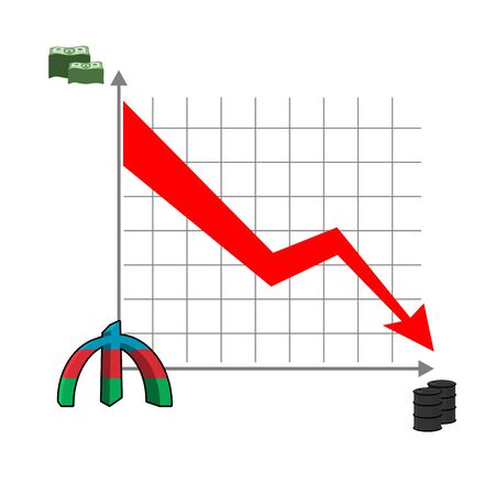 reducing: Azerbaijani manat money falls. Falling of rate of manat. Red down arrow. Reducing cost of oil. Schedule of fall of national currency in Azerbaijan. Barrels of oil. Graph fall for business presentations
