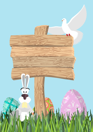 wooden plaque: Happy Easter. Green grass. Colorful Easter eggs. Traditional treats for Easter. Wooden plaque. Wooden pointer. Colored eggs. Funny Bunny and egg. Symbol of Easter holiday