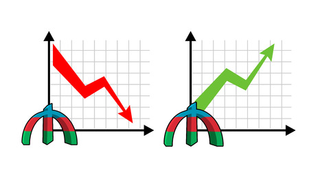 volumes: Fall and rise of courses manat , oil. Red down arrow. Green up arrow. Reduction quotes Azerbaijan currency, money. Increase of sales volumes of market for cash. Set graph for business infographics