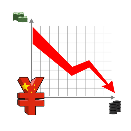 rising prices: Falling and rising yen. fall in oil prices. Red down arrow. Green Arrow. Reducing quotes Chinese currency, money. increase in sales volumes in cash market. Set schedules for business infographics