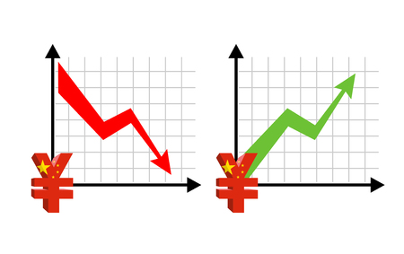 volumes: Yen Fall and growth. Reducing quotes Chinese currency, money. Red down arrow. Green Arrow. increase in sales volumes in cash market. Set grph for business infographics