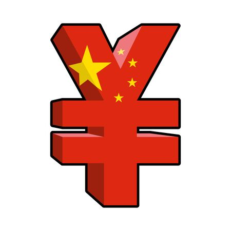 chinese symbols: Yen sign Chinese money. Yen  National currency in China. Strong Chinese large 3D cash. Sign Yen and China state flag Illustration