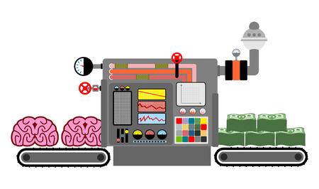 cerebros y dinero. La producción de dinero de la inteligencia. proceso tecnológico de producción de dinero en efectivo de la mente, el cerebro. Cerebro traer dólares. Máquina para la producción de dinero. Panel de control. Las ideas se transforman en dinero. Fábrica de ideas Ilustración de vector