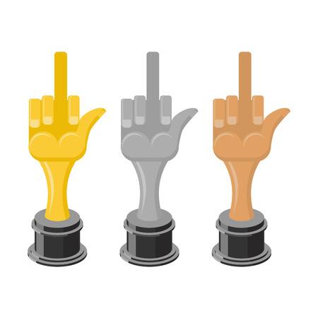obscene gesture: Gold to fuck. Golden statuette. Silver hand figure. Poor reward. Prize for worst job. Hand thumbs up. Bad gesture. Bronze symbol to fuck Illustration