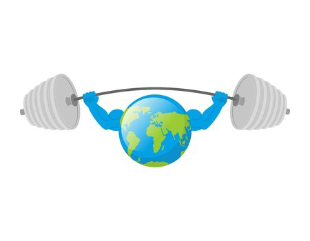 lifting globe: Earth white background. Earth Day. Strong planet. Planet bodybuilder with huge muscles.  Earth is isolated. Fitness planet Earth Illustration