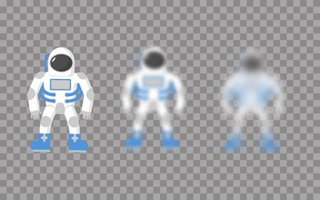 jetpack: Astronaut. Space traveler. Astronaut with varying degrees of blur. Astronaut effect blur