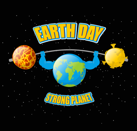 lifting globe: Earth Day. Powerful planet and sport barbell. Lifting weights.  Fitness Earth. Sun and moon. Dark space. Earth Planet bodybuilder Illustration
