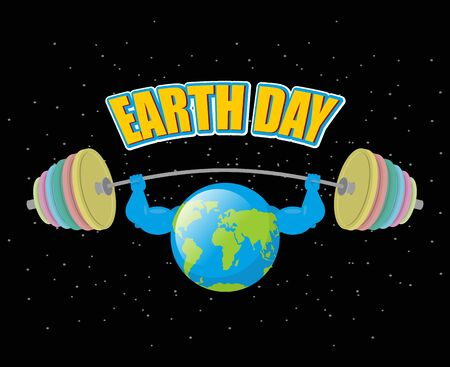 pumped: Earth Day. Strong planet and sports barbell. Powerful Earth doing exercises. Earth is pumped. Black outdoor space