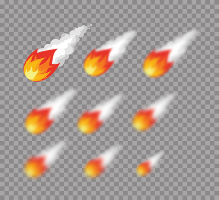 varying: Meteorite. Falling fireball. Set meteorite with varying degrees of blur. blur effect meteor. Astronomical objects. Cosmic Meteorite Illustration