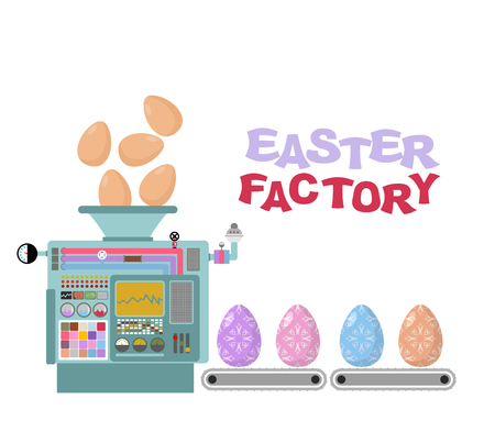 cartoon egg: Easter factory. Production of beautiful eggs. Production technology of colored eggs for Easter. Painted Easter eggs. Automatic sorting of Easter eggs. Belt conveyor with eggs Illustration