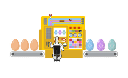 technologically: Happy Easter. Apparatus for production of Easter eggs. Chicken egg Easter egg color is processed. Technologically,  process of making beautiful Easter eggs. Machine for production of eggs. Control Panel for Hare. Rabbit manages apparatus