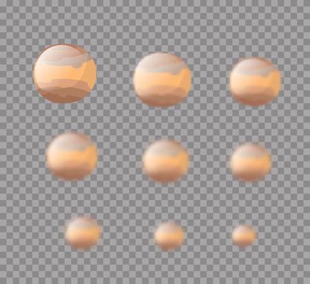 jupiter: Jupiter. Planet Jupiter isolated. Set planet Jupiter with varying degrees of blur. blur effect Jupiter. Astronomical star. Cosmic planet