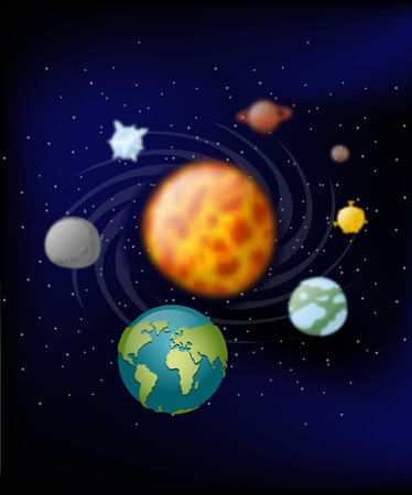 revolve: Planets of solar system. Moon and  Earth. Jupiter and Mars. Sun. Planets revolve around the Sun. Black slanting. Planet of  milky way Illustration