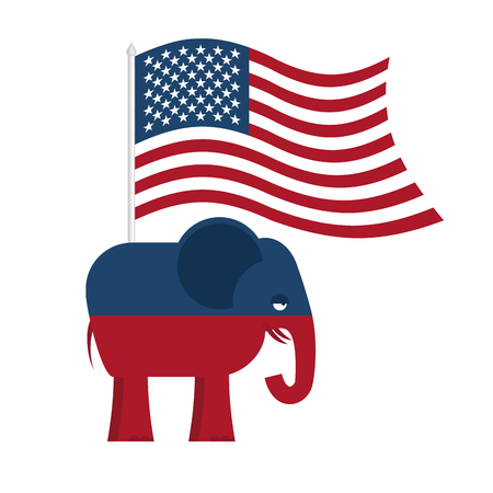 republican party: Republican Elephant. Symbol of political party in America. Political illustration for elections in America. USA Flag