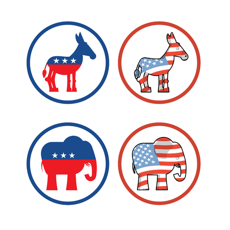 face off: Donkey and elephant symbols of political parties in America. USA elections. Democrats against Republicans. Opposition to American policy. democratic donkey and republican elephant. USA symbol of political debate