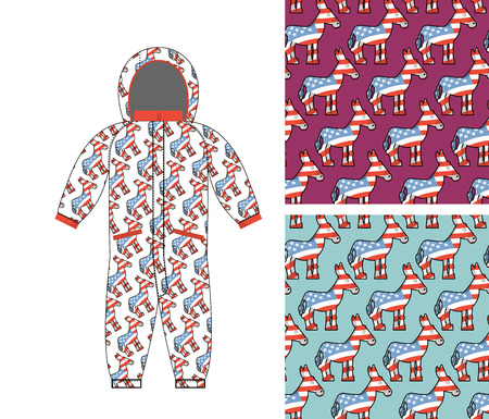 political party: Democrat baby Childrens clothing. Democrat Donkey seamless pattern. Donkey texture. Symbol of political party in America. Textures for girls and boys. Childrens Rompers design template. Suit fo small Democrat