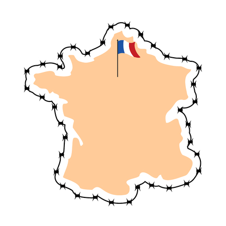 perimeter: France Map. Map of states with barbed wire. Country closes border against refugees. European country to protect its borders. French flag. Surrounded by perimeter fence. Map of states with barbed wire. Country closes border against refugees. European count