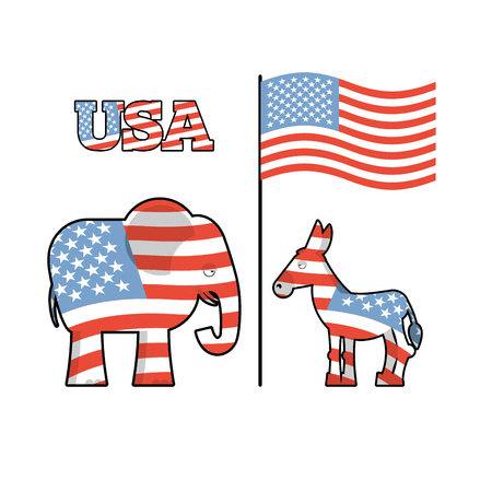 partisan: Elephant and donkey. Symbols of Democrats and Republicans. Political parties in United States. Illustration for election, debate in America. Democrat Donkey and Republican Elephant opposition. USA flag