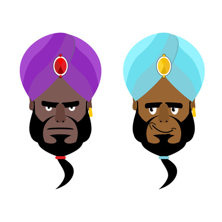 sheik: Arab sheikh. Angry Arab sheikh. Cheerful Arabic man wearing turban. Turban- National Arabic headdress. Good and evil emir