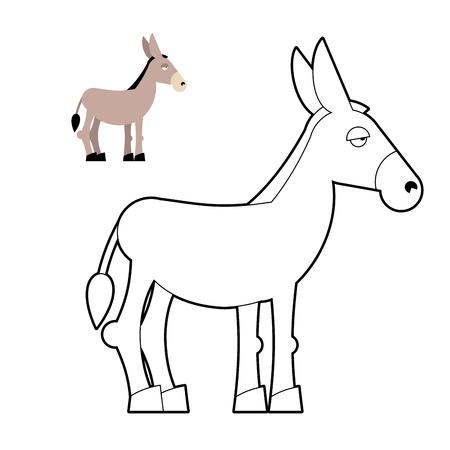 libro para colorear burro. animales de Circuito. Niños Libro para colorear con mula
