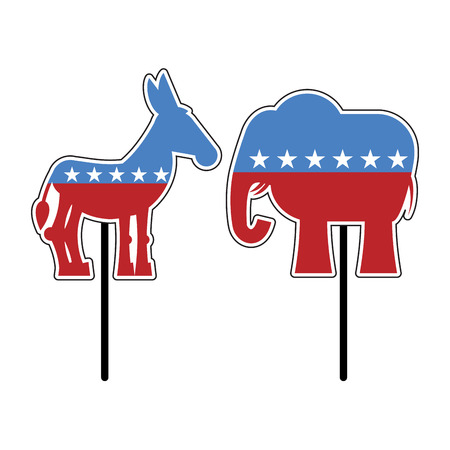 Elephant and donkey. Symbols of Democrats and Republicans. Political parties in United States. Illustration for election, debate in America. Democrat Donkey and Republican Elephant opposition. USA flag