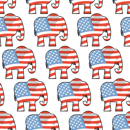 Republican Elephant seamless pattern. Elephant texture. Symbol of a political party in America. Political illustration for elections in America. Texture for election and debate in America. Political background Illustration
