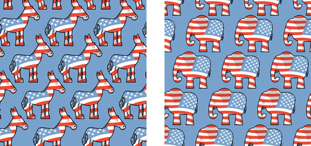 partisan: Donkey and elephant symbols of political parties in America. USA elections seamless pattern. Democrats against Republicans. Opposition to USA policy. USA political debate symbol texture