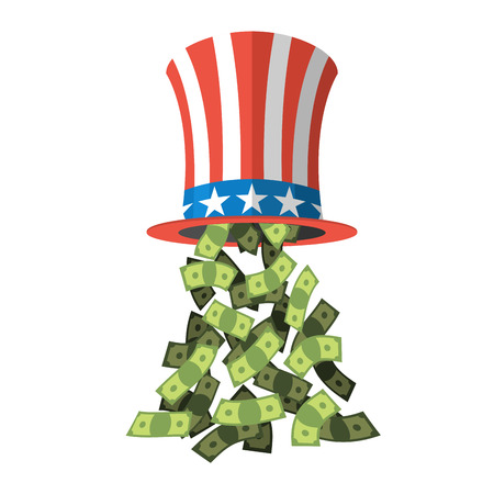 Uncle Sam hat and money. American hat. Hat for independence day. Cylinder Uncle Sam and dollars. Cash drop of hat. Uncle Sam hat on white background. National Patriotic hat in America