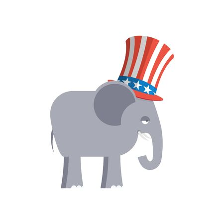 Elephant in Uncle Sam hat. Republican Elephant. Symbol of political party in America. Political illustration for elections in America