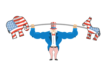 Uncle Sam and donkey and elephant. democratic donkey and republican elephant Strong Uncle Sam goes in for sports. Strong America. Sports America. USA national character. Uncle Sam fitness sportsman