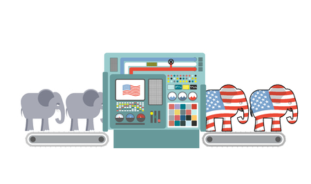 republican party: Factory Republican America. Republican Elephant. Republicans production. Political automated line for industry. Production of elephants for USA political party. Machine for production of electorate Illustration