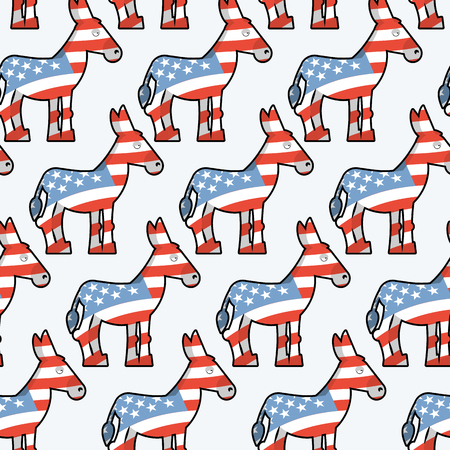 state election: Democrat Donkey seamless pattern. Donkey texture. Symbol of  political party in America. Political illustration for elections in America. Texture for election and debate in America. Political background