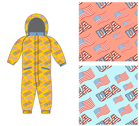 baby clothing: Patriotic childrens clothing. Childrens clothing template. Overall with pattern of  USA flag. Possible Patterns for boys and girls. National jumpsuit baby. Clothes for children for  day of Americas independence