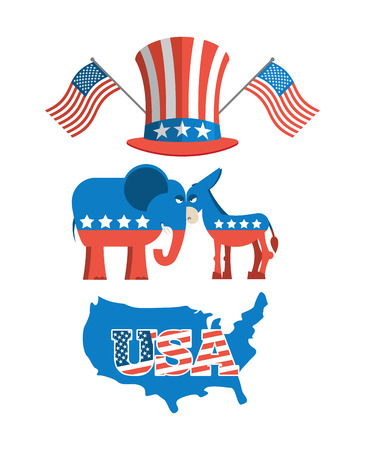 uncle sam hat: Set elections in America. Uncle Sam hat. American flag. Set  political debate in United States. US flag. Donkey and elephant symbols of political parties in America. Democrats against Republicans. Map America