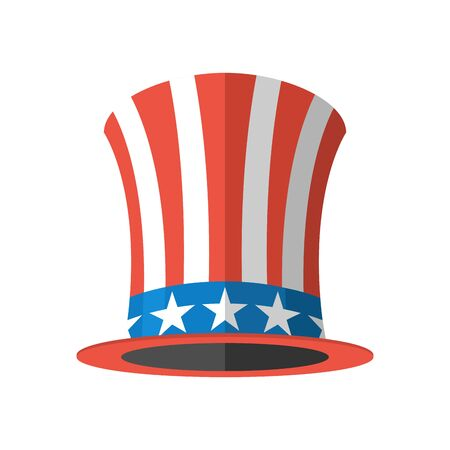 uncle sam hat: Uncle Sam hat on white background. Cylinder Uncle Sam USA. American hat. Hat for independence day. Uncle Sam hat isolated. National Patriotic hat in America Illustration