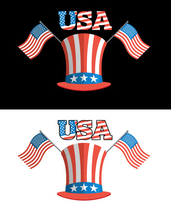 election debate: Set for elections in America. Uncle Sam hat. American flag. Set for political debate in  United States. USA Flag. National Patriotic hat in America. Set USA election symbols