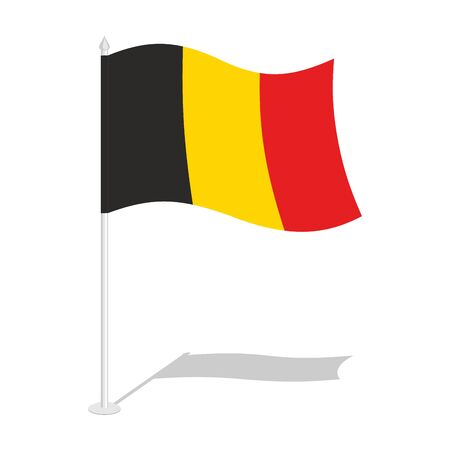 flag pole: Flag of Belgium. Official national symbol of Belgian state. Traditional Belgian paced flag. Belgium flag isolated