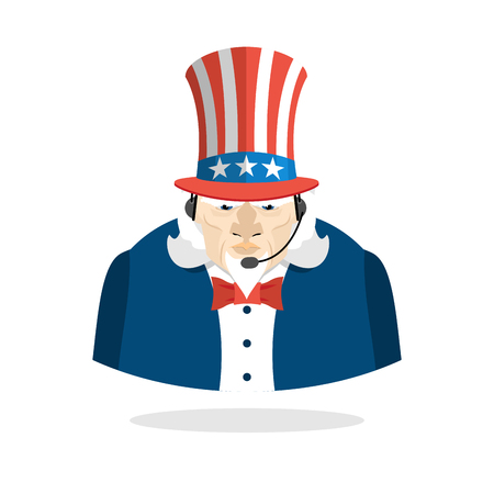 responds: Uncle Sam call center. Uncle Sam and headset. Symbol of America responds to phone calls. Patriotic Customer feedback support. USA call center