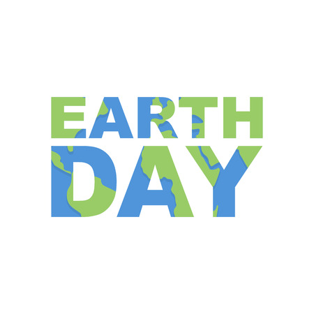 Earth Day emblem. Logo for celebration of Earth. Silhouette of continents and oceans in the text. Illustration for international holiday Earth Day