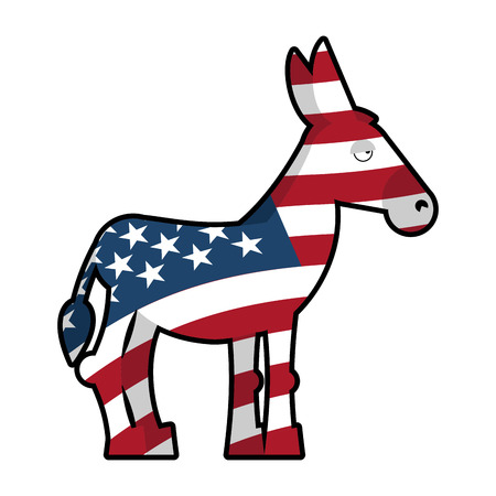 democrat party: Donkey Democrat. Symbol of political party in America. Political illustration for elections in America. USA Flag. Donkey isolated. Donkey Democrat on white background Illustration