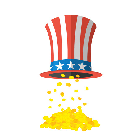 uncle sam hat: Uncle Sam hat and gold. Cylinder Uncle Sam and gold coins on white background. American hat and money. Hat for independence day. Uncle Sam hat isolated. National Patriotic hat in America Illustration