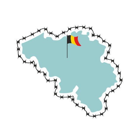 perimeter: Belgium map. Map of states with barbed wire. Country closes border against refugees. European country to protect its borders. Belgian flag. Surrounded by perimeter fence