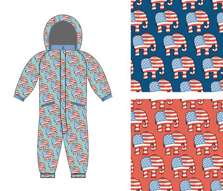 republican party: Republican baby Childrens clothing. Republican Elephant seamless pattern. Elephant texture. Symbol of  political party in America. Textures for girls and boys. Childrens Rompers design template. Suit for small Republican