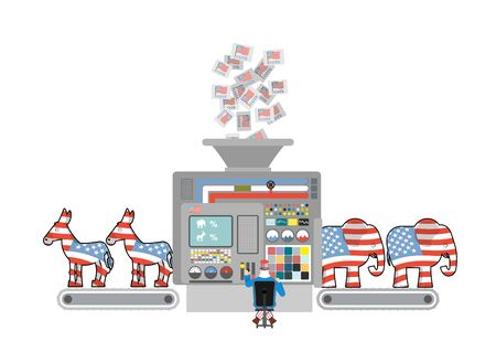 machine operator: Factory elections in America. Uncle Sam says Democrats and Republicans. Voices of voters. Accounting machine. Operator of  machine Uncle Sam. Political factory USA. Elephants and donkeys Illustration