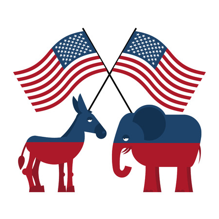 election debate: Elephant and donkey. Symbols of Democrats and Republicans. Political parties in United States. Illustration for election, debate in America. Democrat Donkey and Republican Elephant opposition. USA flag