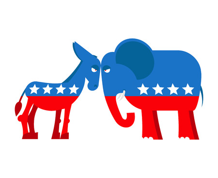 symbols: Donkey and elephant symbols of political parties in America. USA elections. Democrats against Republicans. Opposition to American policy. democratic donkey and republican elephant. USA symbol of political debate